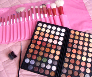 make up, Brushes, and pink image