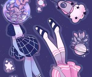 girl, kawaii, and space image