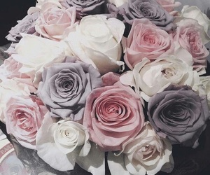 flowers, grey, and pink image
