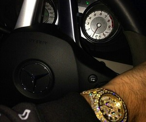 car, gold, and watch image