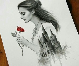 emma watson, art, and beauty and the beast image