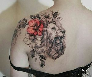 lion, roses, and tattoo image