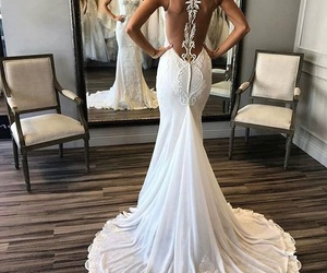 bride, dress, and love image