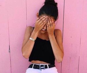girl, wall, and pink image