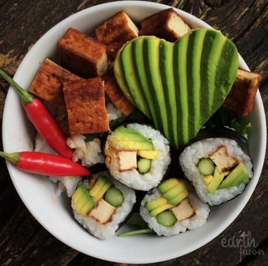 avocado, sushi, and tofu image