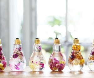 cool, flowers, and light bulbs image