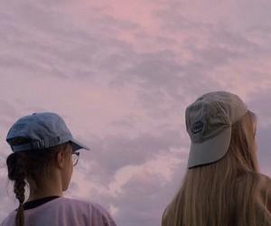 girl, pink, and sky image