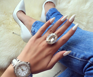 luxury, white, and nail art image