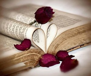 book, rose, and heart image