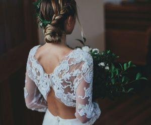 hair, wedding, and dress image