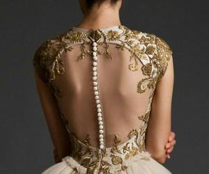 dress, gold, and wedding image