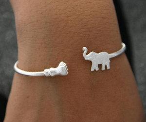 elephant, bracelet, and silver image