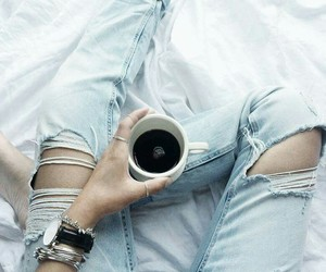 bed, coffee, and grunge image