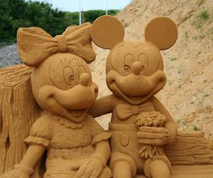 mickey, sand, and beach image