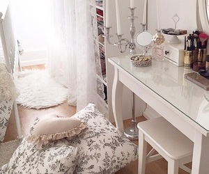 bedroom, desk, and desktop image