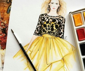 drawing, dress, and fashion design image