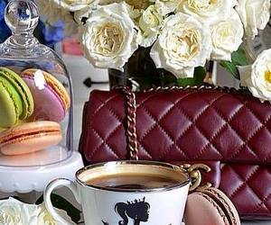 bouquet, coffee, and good morning image