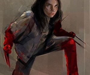 "as laura in ""logan"" and protrait of dafne keen image"