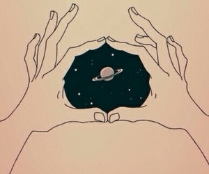 space, hands, and galaxy image