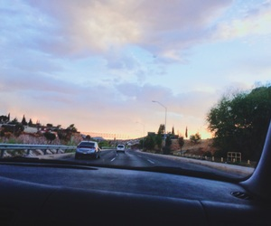 road, sky, and trip image
