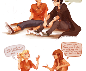 percy jackson, harry potter, and annabeth chase image