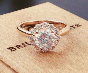 gold, engagement, and ring image