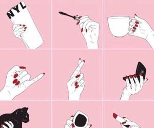 pink, makeup, and hand image