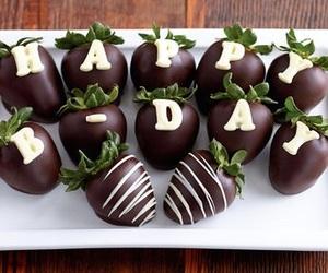 birthday, strawberry, and chocolate image