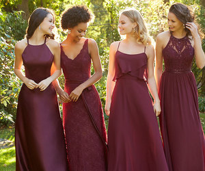 bridesmaids, dresses, and weddings image