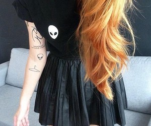 small tattoos, arm tattoos, and black leather skirts image