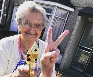 funny, granny, and gun image