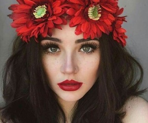 girl, flowers, and red image