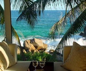 ocean, seychelles, and palms image