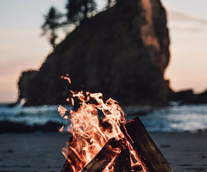 fire, beach, and nature image