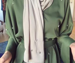hijab, green, and abaya image