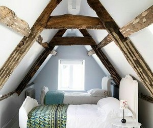 home decor, small bedroom, and attic bedroom image