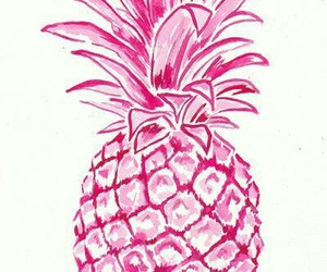 pink, background, and pineapple image