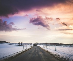 sky, road, and snow image