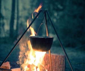 fire, camping, and woods image