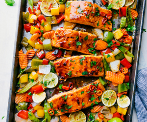 food, veggie, and salmon image