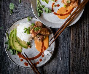 avocado, fish, and japanese food image