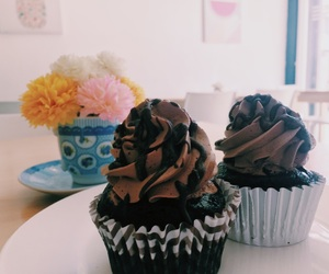 chocolate, couple, and cupcakes image