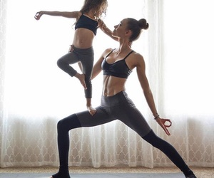 yoga, fitness, and daughter image