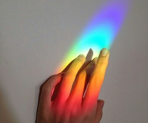color, hand, and rainbow image