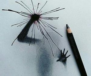 drawing, art, and black image