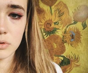 art, eyeliner, and yellow image