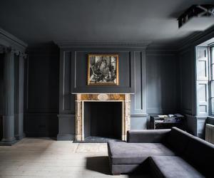 apartment, art, and black image