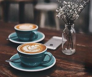 cafe, coffee, and flowers image