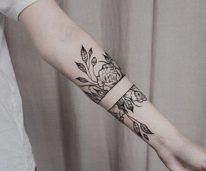 tattoo, flowers, and black image