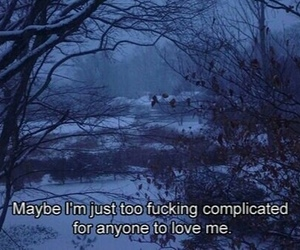 sad, complicated, and quotes image